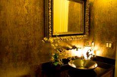 Powder room. Venetian plaster on the walls. Gorgeous.
