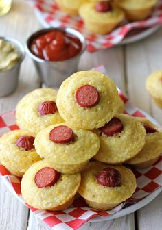 Corn Dog Mini Muffins ....cute finger foods for kids parties/ maybe not have the hot dog showing..just saying..lol