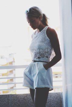 Petra Karlsson lace top + shorts