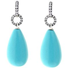 Robin's Egg Turquoise and Diamond Pave Drop Earrings ❤ liked on Polyvore