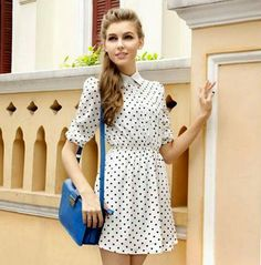 Vogue Lapel Dots Printed Long Sleeve Casual Dress White