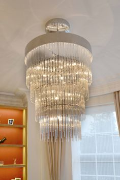 Glass Chandelier in Living Room | JHR Interiors