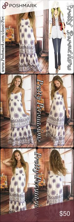 """NWT White Medallion Print Ruffle Hem Maxi Dress Small: Length: 60"""" Bust: 29"""" (stretches to approx 36.5"""") Waist: 37"""" Hips: 42""""  Large Length: 60"""" Bust: 33"""" (stretches to approx' 42"""") Waist: 41"""" Hips: 46""""  Features • medallion print • ruffled hem • elasticized at back • empire waistline (elasticized) • adjustable straps • lined; non-sheer • lightweight  Color: Off White, Navy, Blue, Red  100% Rayon  Bundle discounts available No pp/trades #1/20917050MMD STRIPED Pretty Persuasions Dresses Maxi"""