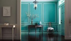 Teal entryway. Cool colors.