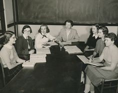 Anne Gary Pannell, President of Sweet Briar College from 1950-1971, with students, 1952.  Sweet Briar College, some rights reserved. CC-BY-NC.
