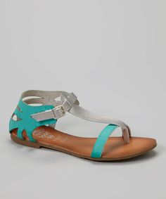 This Jacobies Footwear Green & Silver Vitany Sandal by Jacobies Footwear is perfect! #zulilyfinds