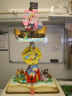 peter pan pop-up book cake Cupcakes, Cupcake Cookies, Beautiful Cakes, Amazing Cakes, It's Amazing, Peter Pan Cakes, Peter Pan Party, Book Cakes, Fancy Cakes