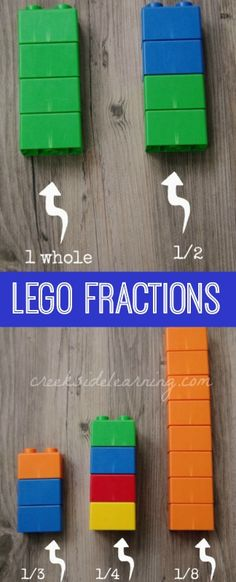 Fractions activities for kindergarten and preschool with LEGOS. Introduce the concept of whole and half, followed by thirds...play Knock Over the Tower game