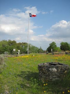 Texas Flag at the old Baylor College ruins off 390 Brenhem to Independence, TX