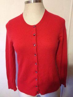 DANIELLE MARTIN Womens Cashmere Sweater Pullover Crewneck Red ...