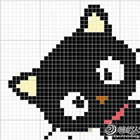 Crochet or cross stitch pattern ~ Black cat Cross Stitching, Cross Stitch Embroidery, Embroidery Patterns, Hand Embroidery, Crochet Pixel, Crochet Chart, Pixel Crochet Blanket, Pixel Pattern, Cat Pattern