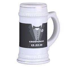 Tuxedo Bow Tie Gerber Daisy Groomsman Stein - Mugs