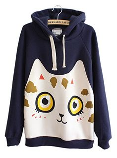 cute cat face sweatshirt - Women's Cute Cat Face Print Long Sleeve Drawsting Pullover Hoodie Sweatshirt size One Size (Dark Blue) -- Continue to the product at the image link. (This is an affiliate link) #CuteCats