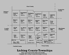 Licking County Township Map showing Monroe Township location of James B. and John Orput