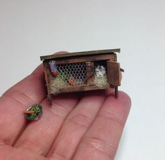 Miniature 1/4 1:48 Quarter Inch Scale Old English Baby Bunny Rabbit & Wooden Hutch For Dollhouse OOAK Handmade