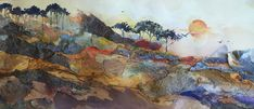 Mixed-media Artist Helen Harris: Landscapes of Layered Paper Mixed Media Artists, Mixed Media Painting, Mixed Media Collage, Collage Art, Collage Ideas, Collages, Art Ideas, Landscaping Retaining Walls, Simple Art