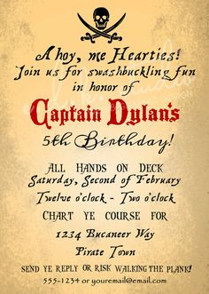 Pirate Party Invitation Goonies Party Digital File by edkstudio,
