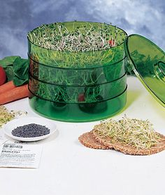 Three Tier Seed Sprouter  Make your own gourmet sprouts. Healthy, fresh, easy and quick!  This compact kitchen countertop device lets you make one, two or three trays of gourmet sprouts. Sprout three different kinds of grains or salad sprouts all at the same time! Each tray takes one tablespoon of small seeds (broccoli, alfalfa, mustard, or radish) or three tablespoons of larger seeds (mung bean).  print friendly version    Read 1 review | Write a review  Buy This Product  Item #	Order	Quantity	Price  93468	1 Sprouter		$32.75