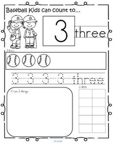 BASEBALL Theme Number Practice Pages 1-20. Recognize, read, count, trace, draw, fill 10-frame. 22 pages.