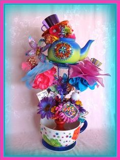 mad hatter centerpiece | ... Party Tower Stackable Centerpiece Mad Hatter Tea Party - Etsywishlist