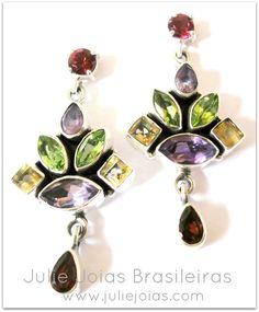 Brincos em prata 950,granada, ametista, citrino e peridoto ( 950 silver earrings with granade, amethyst,citrine and peridot)