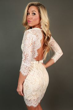 Royalty Lace Open Back Dress in White