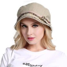 df3cd77f2f4 Vintage Ladies Summer Foldable Sun Hat Cotton Newsboy Style Cap