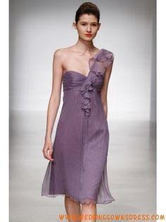 LavenderOne-shoulderCheapSimpleShortBridesmaidDresses
