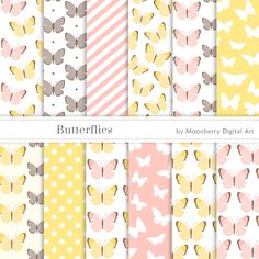Butterfly Digital Paper, Butterflies Papers, Wedding Digital Papers, Baby Shower, Scrapbook Paper, Birthday, Baby Shower Digital Paper by MoonberryDigitalArt on Etsy https://www.etsy.com/uk/listing/474889443/butterfly-digital-paper-butterflies