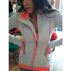 THE SWEET STRIPE FULL ZIP, CORAL / GREY