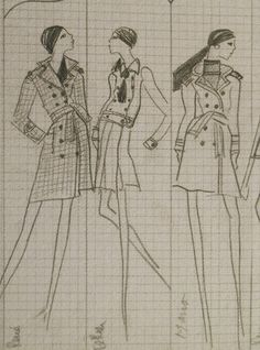 Yves Saint Laurent coat designs from his 1967 Haute Couture Collection Board Couture Collection, Trench Coats, Yves Saint Laurent, Style Inspiration, Board, Fabric, Summer, Design, Haute Couture