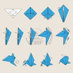 Mini Origami Instructions - Here is a list of easy origami that anyone can have fun making. No annoying diagrams here. Mini Bird Origami Bird Origami Crafts Origami Art These ori. Dragon Origami, Origami Fish, Origami Crane Tutorial, Origami Instructions, Origami Simple, Useful Origami, Paper Crafts Origami, Origami Paper, Origami Ideas