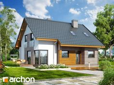 Dom w wisteriach 2 (W) Future House, My House, Small House Exteriors, Exterior House Colors, Prefab, Home Fashion, House Plans, New Homes, House Design