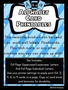 FREEBIE!!!! Be sure to FOLLOW my store for future Freebies. Alphabet Cards/Posters/Games:Uppercase/Lowercase Printables