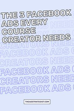If you're gearing up to launch your online course, these are the three Facebook ads you need to ensure you grow your audience, have people on your launch waiting list, and hungry buyers ready to join your program. #Facebookadvertising #bestFacebookads Facebook Ads Manager, Advertising Strategies, Best Facebook, Waiting List, Advertising Campaign, Online Courses, The Creator, Join, People