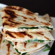 Chicken, Spinach, Goat Cheese Quesadillas With Avocado Sour Cream -- interesting twist