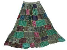 Amazon.com: Boho Skirt Teal Green Printed Patchwork Maxi Gypsy Skirt Bollywood Fashion: Clothing