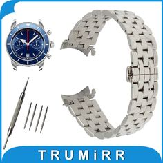18mm 20mm 22mm 24mm Stainless Steel Watch Band Curved End Strap for Breitling Watchband Butterfly Buckle Wrist Belt Bracelet #Affiliate