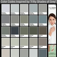Fifty Shades of Greyscale... The Color Codes... Not the Books! Not the Movie! | By Senay GOKCEN, Editor-in-Chief #FiftyShades #FiftyShadesTrailer #FashionTrendsetter  http://www.fashiontrendsetter.com/content/color_trends/2014/Fifty-Shades-of-Grey.html