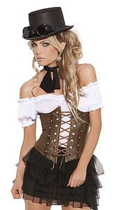 Sexy Steampunk Victorian Cosplay Costume Faux Leather Corset 38