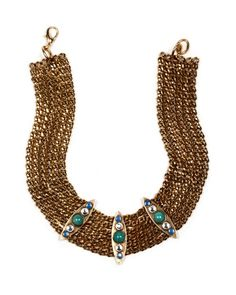 """Bosworth Bib Necklace from Nicole Romano.  Like an ocean breeze of turquoise and opal.   17"""" inside necklace length 22"""" outside necklace length 2"""" bib width Turquoise matrix, blue opal, Swarovski crystal Lobster claw closure Russian gold plate Antiqued and hand polished Handcrafted & USA Made™"""