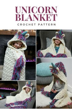 This is a PDF crochet pattern for a Bulky & Quick Unicorn Blanket! Pattern also includes a Hooded Unicorn Cowl in toddler-adult size. #crochet #affiliate #crocheting #crochetpattern