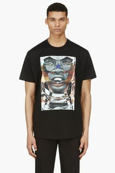 GIVENCHY Black Curved Hem Photoprint T-Shirt
