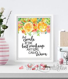 Items similar to A Smile is the Best Makeup Any Girl Can Wear Printable, Wall Print, Home Wall Printable, Inspirational Quote, Smile Wall Art Floral Print on Etsy Nursery Prints, Wall Art Prints, Art Floral, Floral Prints, Diy Beauty Makeup, Dorm Walls, Makeup Room Decor, Types Of Printer, Watercolor Print