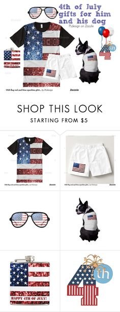 """USA sparkles gifts for him and his dog by PLdesign"" by pldesign ❤ liked on Polyvore featuring men's fashion, menswear, PLdesign, SparklesGift and USASparkles"