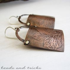 Copper and silver earrings. Acid etched | Handmade by Beads and Tricks
