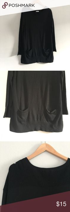 ✨2/$15✨ Carlson Black Knit Tunic Stretchy black tunic with pockets.  Waist is approximately 41 inches.  Length is 31 inches. Caslon Tops Tunics