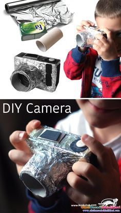 DIY Cardboard camera for kids - Do it yourself – a compact camera out of a soap packaging, an empty toilet paper roll and aluminum foil. Toilet Paper Roll Crafts, Diy Paper, Diy For Kids, Crafts For Kids, Paper Camera, Camera Crafts, Cardboard Toys, Cardboard Camera, Soap Packaging
