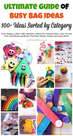 This is the ULTIMATE GUIDE of Busy Bags. Look no further. Busy bags for Baby, Color, Shapes, Letters / ABC, Numbers, Clothes Pin, Popsicle Sticks, Lego, Car and Train, Quiet Books and Boxes, Fine Motor, Nature, Puzzles and many others!