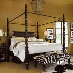Tommy Bahama Home Kingstown King-Size Sovereign Poster Bed with Canopy